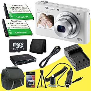 Samsung DV150F 16.2MP Smart WiFi Digital Camera with 5x Optical Zoom and 2-Inch front and 3-Inch Rear Dual LCD Screens (White) + Two BP-70 Replacement Lithium Ion Batteries + External Rapid Charger + 16GB microSD Memory Card + Micro HDMI Cable + Carrying Case + Multi Card USB Reader + Memory Card Wallet + Deluxe Starter Kit DavisMax Bundle
