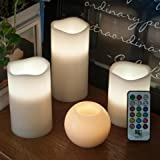 Frux-3-Piece-Flickering-Flameless-LED-Wax-Pillar-Candles-Set-with-Remote-Control-and-BONUS-Ball-Candle-by-Frux-Home-and-Yard