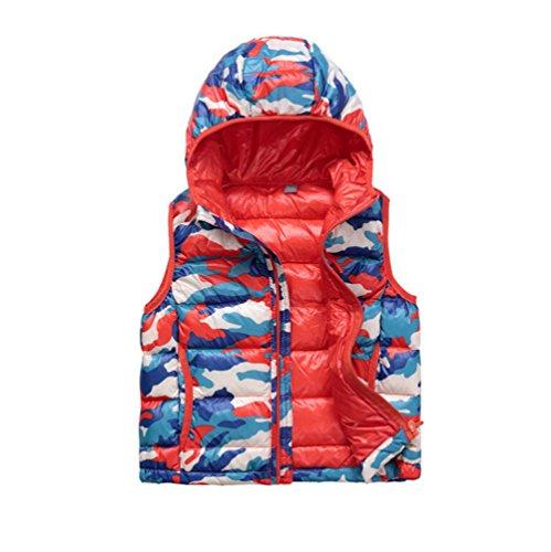 DAYAN Bambina Bambino Unisex camuffamento giù piumino gilet con cappuccio di colore arancione Dimensioni 110 centimetri