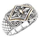 925 Silver Solid Fleur-De-Lis Ring with 18k Gold Accents- Size 6