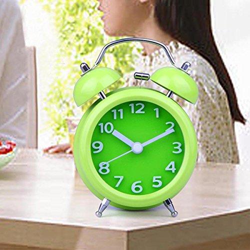 YESURPRISE Réveil matin Enfant Quartz Lumineux Alarme Clock Silencieux Pure couleur Vert