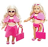6 Piece Swimsuit Set for American Girl Dolls: Pretty Pink Polka Dot Swimsuit Set by Lilly and the Bee Novelties (TM)