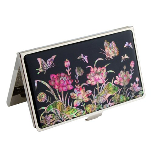 Mother of Pearl Pink Lotus Flower Design Black Metal Business Credit Name Id Card Holder Case Stainless Steel Engraved Slim Purse Pocket Cash Money Wallet