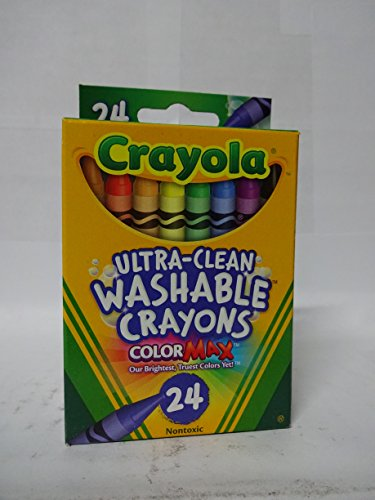 Crayola Non-Toxic Washable Crayon, 5/16 X 3-5/8 in, Assorted Color, Pack of 24