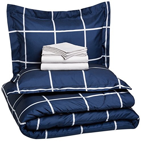 Big Save! AmazonBasics 7-Piece Bed-In-A-Bag - Full/Queen, Navy Simple Plaid