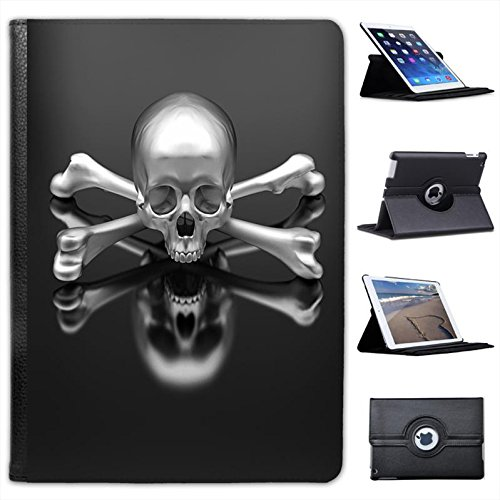 Skulls-Custodia in finta pelle con funzione di supporto per Apple iPad, modelli nero Chrome 3D Skull & Crossbones iPad Air