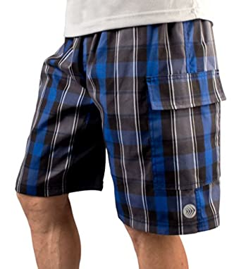 Mens ATD Plaid Cargo Short Baggy Padded Mountain Bike Cycling Shorts by Aero Tech Designs