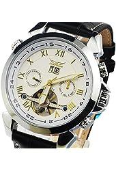 Gute Luxury 5 Hands Date Tourbillon Wrist Watch Auto Mechanical Watch Silver Case Gold Roman Numbers