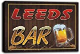 Scw3-008215 LEEDS Name Home Bar Pub Beer Stretched Canvas Print Sign