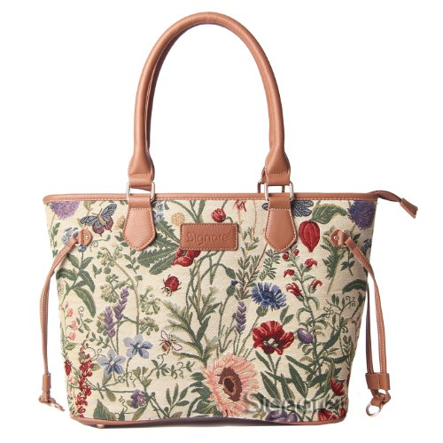 Signare Womens Tapestry Fashion Tote Shoulder Bag in Floral Morning Garden Design