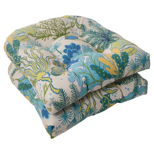 Pillow Perfect Indoor/Outdoor Splish Splash Wicker Seat Cushion, Blue, Set of 2 photo