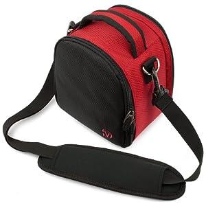(Red) Laurel VG Camera Bag w/ Removable Shoulder Strap for Nikon Coolpix P530 / P600 / D7100 / L820 / P520 / D750 / D810 / D4s / D3300 / L830 / Df / D5300 / D610 / P7800 / L320 / D5200 / D600 / P7700 / L610 / D3200 / D800 / D800E / P510 / L810 / D4 / D5100 / L120 / P500 / D7000 / P7000 / D3100 / P100 / L110 / D3S / D3000 / D300S / D5000 / P90 / L100 DSLR Digital SLR Cameras