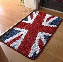 Sytian® Pretty Union Jack Rug Soft Absorbent Doormat Floormat Shaggy Area Rug Non Slip Bath Mat Bathroom Shower Rugs Carpet (British Style) (50*80cm)