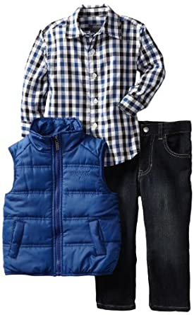 Kenneth Cole Little Boys' Toddler Puffy Vest with Plaid Shirt and Jean, Blue, 2T