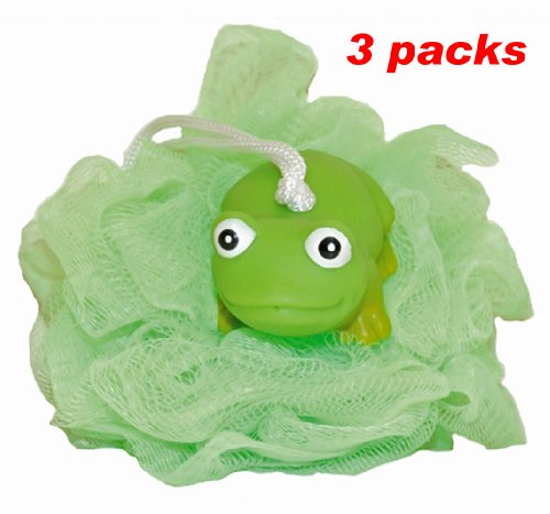 Waddlers Rubber Ducks Family-3 Pack Green Hoppy Frog Bath Shower Scrunchie Mesh Ball Loofah-Rubber Ducky Series Children Bath Tub Shower Tool N Toy-Deluxe Bath Gift Set front-927995