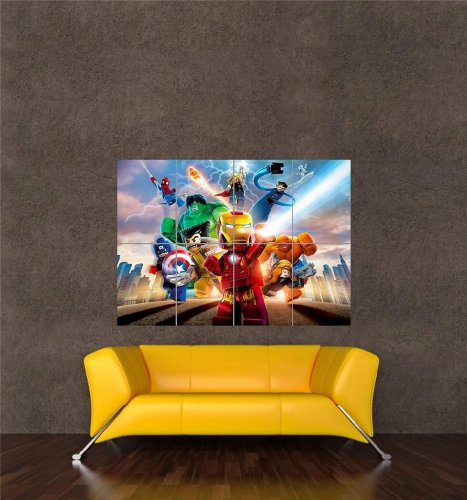 LEGO MARVEL SUPER HEROES XBOX ONE PS4 PS3 GAME PC GIANT ART PRINT POSTER OZ1081 (Marvel Superheroes Lego Ps3 compare prices)