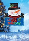 """Glitter """"Let It Snow"""" Led Color Changing Lights Whimsical Cute Snowman Stake Display Outdoor Yard Garden Stake Christmas Decor"""