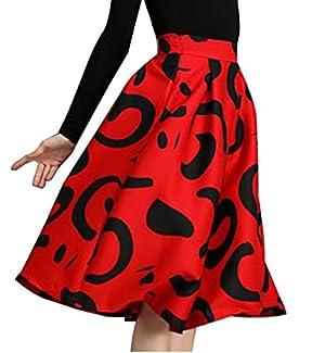 LTYY Womens High Waist Full Pleated Large Hem Fashion Midi Skirts Red L