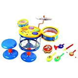 Deluxe Jazz Band Kids Childrens Toy Drum Percussion Musical Instrument Playset W/ 2 Drums, Cymbal, Toy Tambourine...