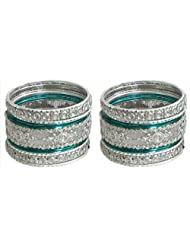 Two Sets Of Stone Studded White With Cyan Bangles - Metal