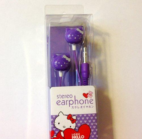 Cell Phone Earplugs/Headset - Hello Kitty, Purple