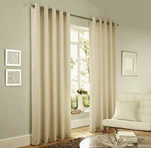 """Cream Lincoln Herringbone Tweed Thick Lined Ring Top Curtains 66"""" X 90"""" by PCJ SUPPLIES"""