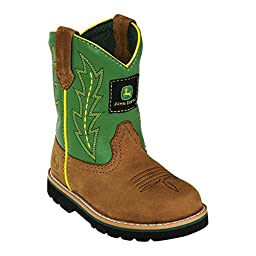 Johnny Popper Infant Boys Green Leather Classic Pull-On Cowboy Boots 5.5 M