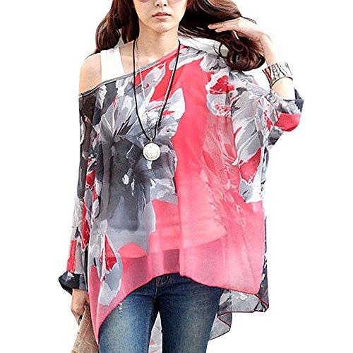 Donna Manica 3/4 Bohemian Chiffon Blouse Estate T Shirt Stampa (senza Vest) ( EU M )