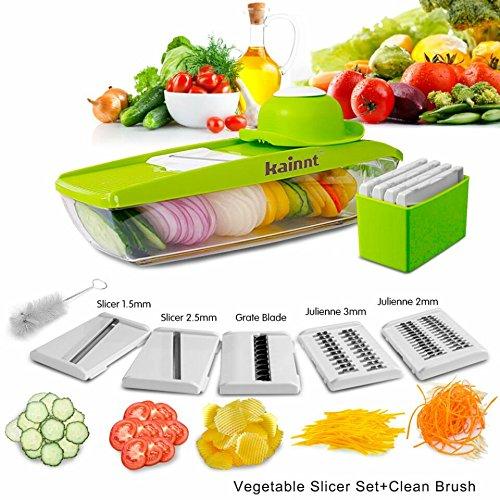 Kainnt Mandoline Slicer/Pflanzliche Slicer/Gemüsehobel 5 in 1 Profi-Mandoline Reibe - Schneiden oder Zerteilen Gemüse Obst schnell und gleichmäßig Best Gemüseschneider Slicer mit 5 verschiedenen Qualitäts-Edelstahl-Klingen, eine Push-Sicherheit und einem