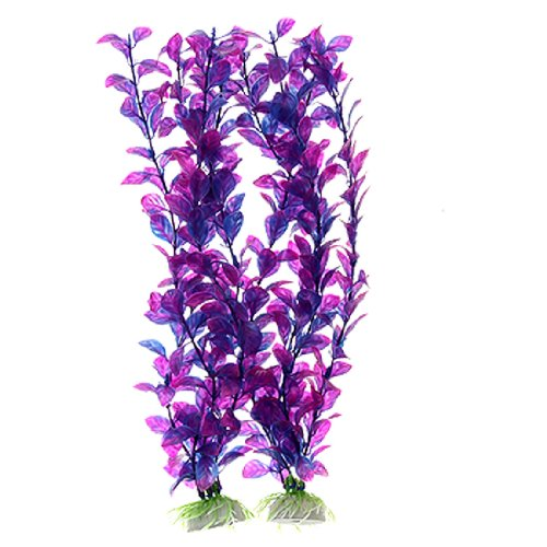Plastic Aquarium Fish Tank Grass Plants - Purple, 2-Pieces