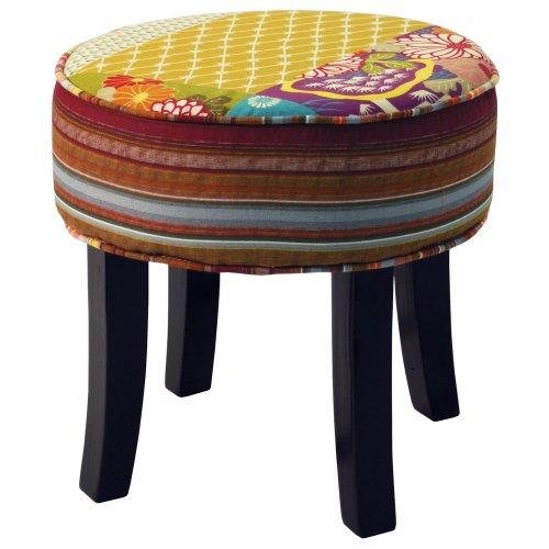 PATCHWORK - Shabby Chic Round Pouffe Stool /Wood Legs - Multicoloured