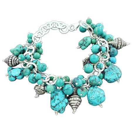 925 Sterling Silver Tibetan Turquoise Natural Gemstone Vintage Style Designer Handmade Strand Link Bracelet Drop 7
