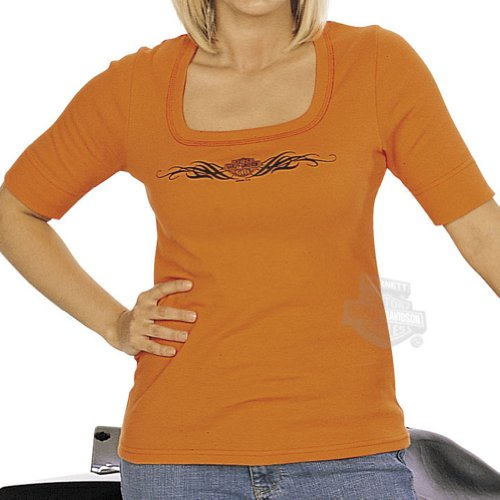 Harley-Davidson Womens Simplicity U-Neck Orange Half Sleeve Medium