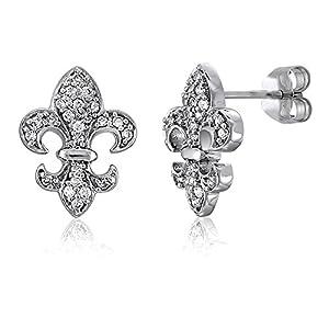 BERRICLE Sterling Silver Cubic Zirconia CZ Fleur De Lis Fashion Stud Earrings