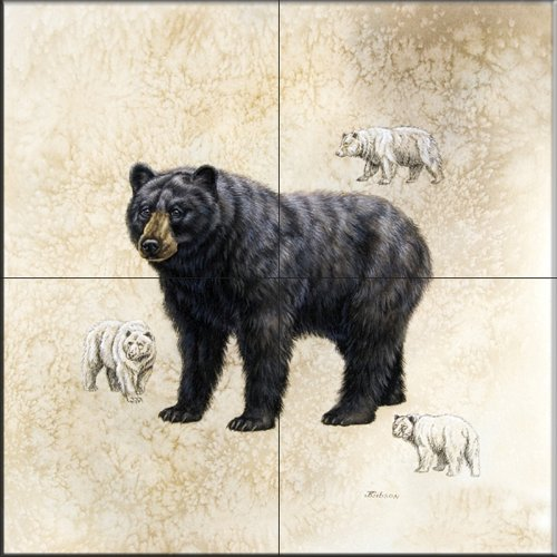 Black Bear by Judy Gibson - Kitchen Backsplash / Bathroom wall Tile Mural