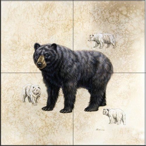 Black Bear by Judy Gibson - Kitchen Backsplash / Bathroom wall Tile Mural