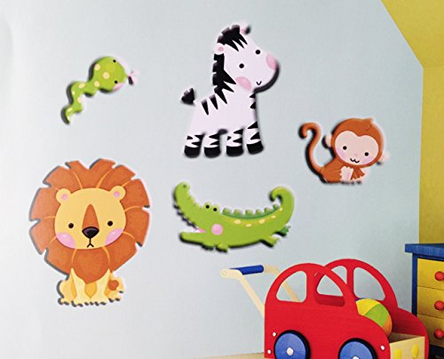 "5 Piece Set Jungle Animals Foam 3d Stick-on Removable Wall Decoration (4"" to 8"" Tall) Lion Alligator Monkey Zebra & Snake"