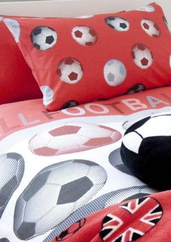 Catherine-Lansfield-Stoff-mit-Fuball-Design-fr-Kinder-Rot-Einzelbett