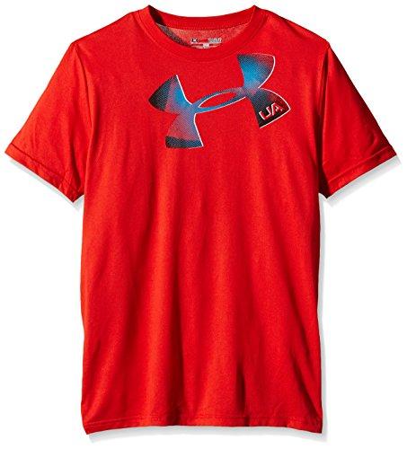 Under Armour Jungen Fitness T-Shirt Maglietta a Maniche Corte Q1 Logo da Bambini e Ragazzi, Colore Rosso (Red), Taglia S