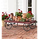 Indoor/Outdoor Rolling Antique Red Metal Cart, In Red