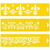 Set of 3 - 30cm x 8cm Reusable Flexible Plastic Stencils for Cake Design Decorating Wall Home Furniture Fabric Canvas Decorations Airbrush Drawing Drafting Template - Heraldic Lily Fleur-de-lis Leaves