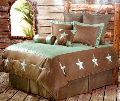 Western Bedding Embroidered Turquoise Star 6 Piece Queen