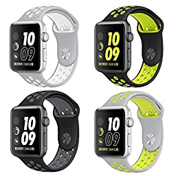 Apple Watch Band 4Pack otmake Soft Silicone Nike+ Sport Style Replacement iWatch Strap band for Apple Wrist Watch Series 1 Series 2 (38mm-set1 )