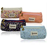 Ipow Set of 4 Pastorable Flower Floral Canvas Double Zipper Large Make Up Cosmetic Pen Pencil Stationery Storage Pouch Bag Case
