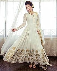 Aarsh Apparel Women's White Georgette Anarkali Dress Materials