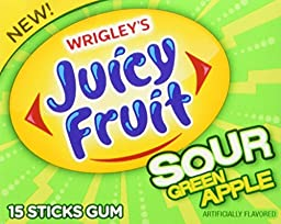 Juicy Fruit Sour Green Apple Gum, (Pack of 10)