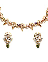 32.50 Grams White Cubic Zirconia & Multicolor Glass Gold Plated Brass Necklace Set