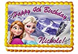 Frozen Sisters Elsa and Anna 1/4 Sheet Edible Photo Birthday Cake Topper. ~ Personalized!