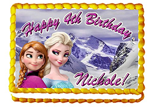 """Frozen Sisters """"Elsa And Anna"""" 1/4 Sheet Edible Photo Birthday Cake Topper. ~ Personalized!"""