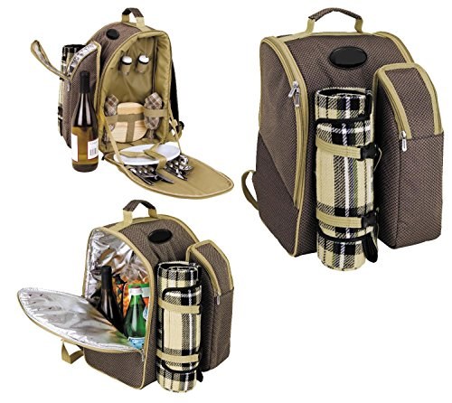 2 Person Picnic Backpack..with insulated storage compartments. Accessories and blanket included
